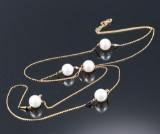 Georg Jensen. Neva cultured pearl sautoir, 18 kt. red gold