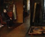 Peter Alfred Schou (1844-1914). Interiør med kunstner ved staffeliet, antagelig forestillende kunstneren selv