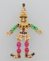 Sprællemandsvedhæng med farvede sten og brillanter, guld 750/000