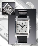 Jaeger-LeCoultre 'Reverso Squadra Hometime' men's watch, steel, original strap and clasp, c. 2010