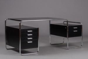 marcel breuer schreibtisch modell s 285 stahl und schwarz lackiert. Black Bedroom Furniture Sets. Home Design Ideas
