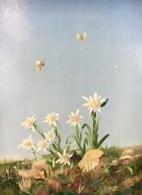 Gemälde, Öl auf Karton, Mischtechnik, Titel: Enzian