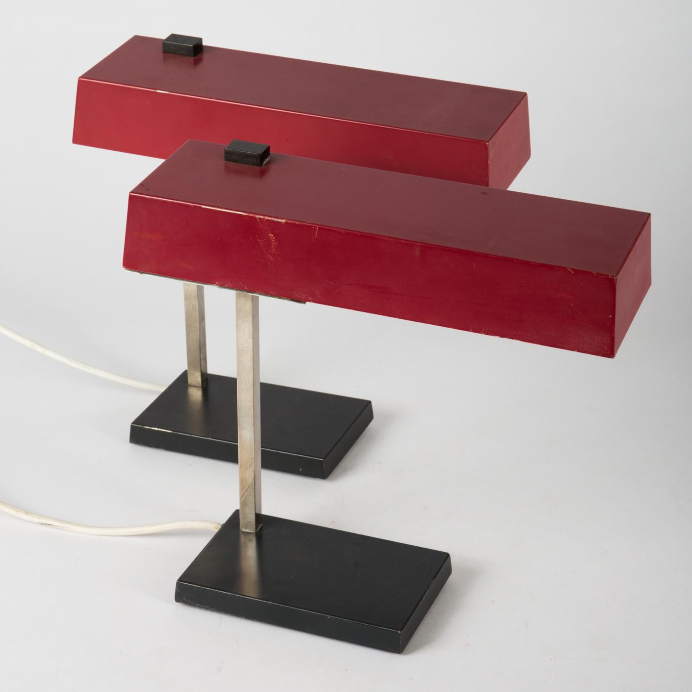 Hillebrand, Zwei Lampen / Schreibtischlampe / Tischlampe, Metall (2)