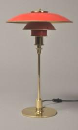 Poul Henningsen. PH 3/2 bordlampe, røde skærme