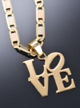 Italiensk halskæde 18 kt. guld med 'Love' vedhæng