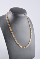 Flat curb chain, 18K gold