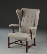Børge Mogensen for Jacob Kjær.Armchair/Winged armchair, mahogany and wool