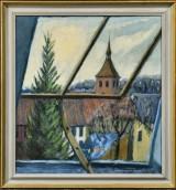 Erik Friberg, olie på plade, udsigt fra vindue
