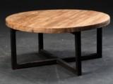 Cirkulært sofabord, genanvendt elmetræ