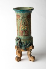 A vase, probably Ming dynasty, ceramic, green / brown