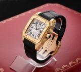 Cartier Santos 100 XL. Automatic men's watch, 18 kt. gold with certificate, 2004