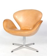 Arne Jacobsen. The Swan easy chair, original vegetable-tanned leather