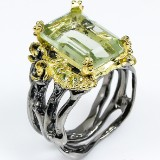 Unika ring m/ smaragdsleben grøn ametyst, 9,6 gram