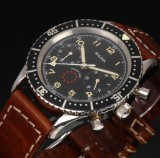 Bulova 'Marine Star'. Vintage men's chronograph, steel with black dial