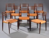 N. O. Møller. Set of eight chairs in Brazilian rosewood (8)