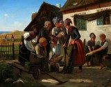 David Jacobsen. Genre painting from Fanø, a clothing merchant showing his wares, 1855