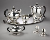 C. C. Hermann coffee and tea service, sterling silver (7)