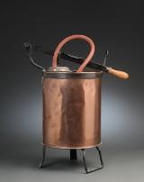 Brandspand med pumpe af kobber og messing. 1800-tallet