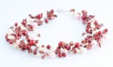 8 strand cultured pearl and garnet necklace
