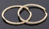 Store creoler m/ diamanter, 14 kt guld. Et par. Ø. 33 mm(2)