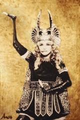 Fredrico de Albinini, blandteknik, Madonna, 72x90 cm