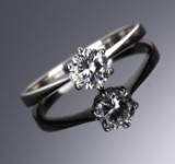 Solitaire ring, 14 kt. white gold, 0.60 ct.