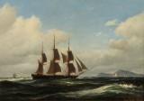 Carl Bille. Dansk tremastet sejlskib ud for klippekyst. 1861. Olie på lærred