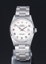 Rolex 'Datejust'. Herrenuhr aus Stahl mit hellem Logo-Zifferblatt, ca. 2003