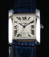 Cartier 'Tank  Française' ladies' watch, 18 kt. white gold, pale dial,  2000's