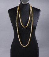 Usædvanlig lang halskæde af 14 kt. guld - 195 cm.