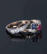 To vintage ringe med diamanter af 18 kt guld (2)