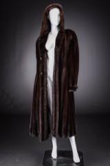 Mahogany mink coat with hood, size 42 / 44, labelled Brdr. Alex Petersen