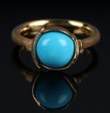 Ole Lynggaard. 'Lotus' ring in 18 kt. yellow and pink gold with turquoise