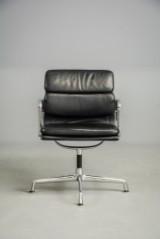 Eames, soft pad stol m. sort læder, EA 208