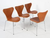 Arne Jacobsen. Four Series 7 chairs, model 3107, reupholstered in aniline leather (4)