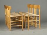 Børge Mogensen. Sæt på seks shakerstole af bøgetræ. (6)