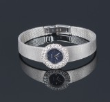 Vintage Omega 'Lady' watch, 18 kt. white gold, brilliant-cut diamonds, total approx. 1.20 ct., c. 1970