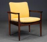 Finn Juhl. Skrivebordsstol / armstol, Diplomatserien model 209, af palisander