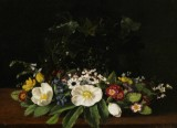 Augusta Læssøe. Still life with spring flowers on stone sill