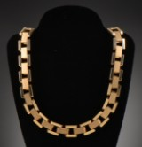 Necklace, block pattern, 14 kt. gold
