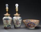 To kinesiske bordlamper samt skål (3)