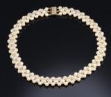 Kulturperle- og brillant-halscollier af 18 kt guld