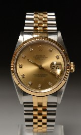 Rolex Oyster Perpetual Datejust men's watch, gold and steel with diamonds