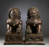 A pair of colossal Chinese bronze sculptures, 20th century (2)