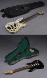 Elektrisk guitar samt bas og tasker.(4)