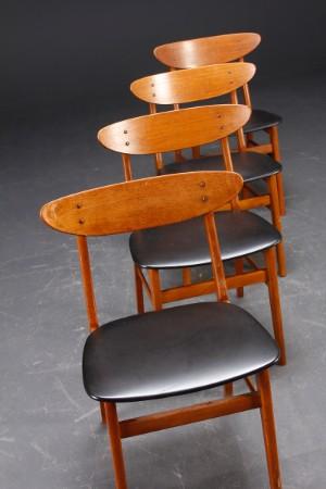 dansk m bel producent 4 spisebords stole i teak 4. Black Bedroom Furniture Sets. Home Design Ideas