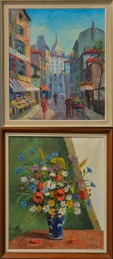 Frede Salling, olie på lærred, opstilling med blomster og gadeparti (2)