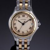 Cartier 'Santos Ronde' ladies' watch, 18 kt. gold and steel, date, 1990's