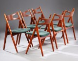 Hans J. Wegner. Six chairs, Saw Horse Chair, teak, model CH-29 (6)