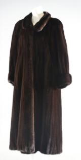 Sagamink ladies' dark-brown female mink coat, size 36-38